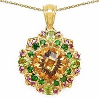 5.27CTW Genuine Multi Gemstone 14K Yellow Gold Plated .925 S