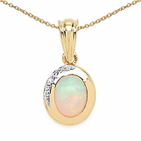 1.29CTW Genuine Opal & White Topaz 14K Yellow Gold Plated .9