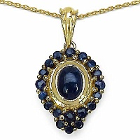 2.42CTW Genuine Blue Sapphire 14K Yellow Gold Plated .925 St