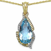 6.68CTW Genuine Blue Topaz 14K Yellow Gold Plated .925 Sterl