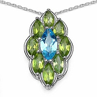 4.56CTW Genuine Swiss Blue Topaz & Peridot .925 Sterling Sil