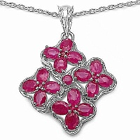 4.16CTW Genuine Ruby .925 Sterling Silver Pendant