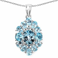 10.06CTW Genuine Blue Topaz .925 Sterling Silver Pendant