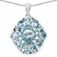 9.55CTW Genuine Blue Topaz .925 Sterling Silver Pendant