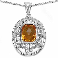 Inspirations 3.51CTW Fancy Shape Genuine Citrine .925 Sterling