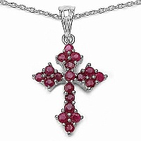 1.33CTW Genuine Ruby .925 Sterling Silver Cross Shape Pendan