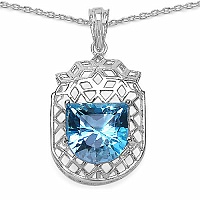 Inspirations 4.29CTW Fancy Shape Genuine Swiss Blue Topaz .925
