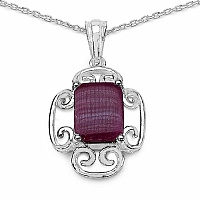 Inspirations 6.97CTW Fancy Shape Genuine Ruby .925 Sterling Sil