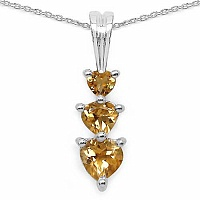 0.85CTW Genuine Citrine .925 Sterling Silver Heart Shape Pendan