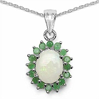 2.45CTW Genuine Opal & Emerald .925 Sterling Silver Pendant
