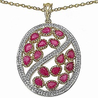 3.20CTW Genuine Ruby 14K Yellow Gold Plated .925 Sterling Si