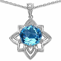 Inspirations 8.18CTW Fancy Shape Genuine Swiss Blue Topaz .925