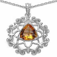 Inspirations 3.93CTW Fancy Shape Genuine Citrine .925 Sterling