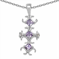 0.32CTW Genuine Amethyst & Diamond .925 Sterling Silver Pendant
