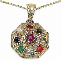 Shraddha 0.77CTW Navratna 14K Yellow Gold Plated .925 Sterling