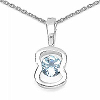 0.35CTW Genuine Blue Topaz .925 Sterling Silver Pendant