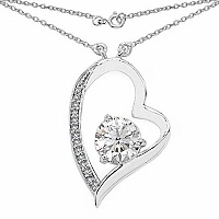 2.42CTW White Cubic Zirconia .925 Sterling Silver Heart Shap