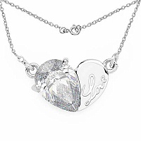 3.20CTW White Cubic Zirconia .925 Sterling Silver Heart Shap