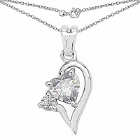 1.60CTW White Cubic Zirconia .925 Sterling Silver Heart Shap