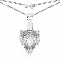 1.38CTW White Cubic Zirconia .925 Sterling Silver Heart Shap