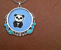 GEMARTINI Turquoise & Glass .925 Sterling Silver Pendant