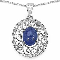 1.80CTW Genuine Tanzanite .925 Sterling Silver  Pendant