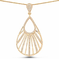 0.63CTW White Diamond 14K Yellow Gold Pendant