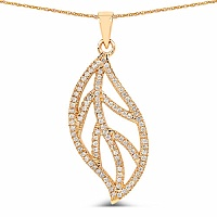 0.40CTW White Diamond 14K Yellow Gold Pendant