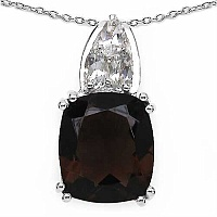 6.84CTW Genuine Smoky Topaz & White Topaz .925 Sterling Silver