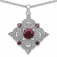 3.04CTW Dyed Ruby & Rhodolite .925 Sterling Silver Pendant