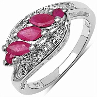 0.78CTW Genuine Ruby .925 Sterling Silver Ring
