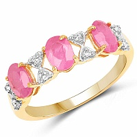2.07CTW Genuine Ruby & White Topaz 14K Yellow Gold Plated .925