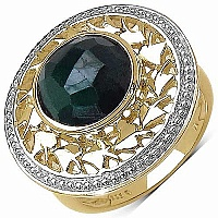 3.80CTW Genuine Dyed Emerald 14K Yellow Gold Plated .925 Ste