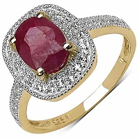 1.90CTW Genuine Ruby & White Topaz 14K Yellow Gold Plated .9