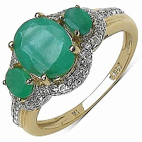 2.58CTW Genuine Emerald & White Topaz 14K Yellow Gold Plated