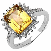 4.02CTW Genuine Citrine & White Topaz .925 Sterling Silver R