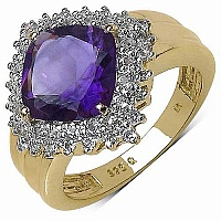 3.35CTW Genuine Amethyst & White Topaz 14K Yellow Gold Plate