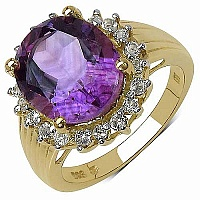 4.85CTW Genuine Amethyst & White Topaz 14K Yellow Gold Plate