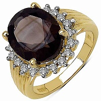5.21CTW Genuine Smoky Topaz & White Topaz 14K Yellow Gold Pl