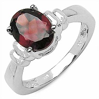 2.50CTW Genuine Garnet .925 Sterling Silver Ring