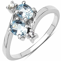 1.10CTW Genuine Blue Topaz & White Topaz .925 Sterling Silve