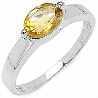 0.85CTW Genuine Citrine Solitaire .925 Sterling Silver Ring