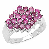 1.84CTW Genuine Ruby .925 Sterling Silver Ring