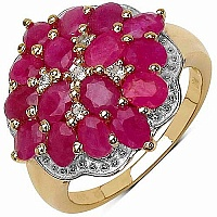 4.10CTW Genuine Ruby & White Topaz 14K Yellow Gold Plated .9