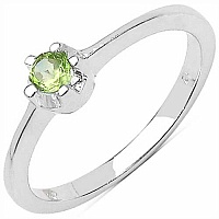 0.10CTW Genuine Peridot Solitaire .925 Sterling Silver Ring