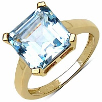 5.30CTW Genuine Blue Topaz 14K Yellow Gold Plated .925 Sterl