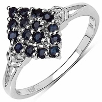 0.96CTW Genuine Blue Sapphire .925 Sterling Silver Ring