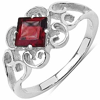0.75CTW Genuine Garnet .925 Sterling Silver Solitaire Ring