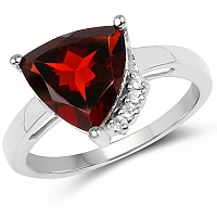 3.56CTW Garnet & White Topaz .925 Sterling Silver Ring