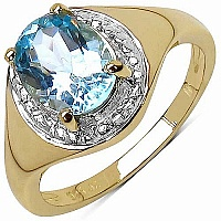 2.50CTW Genuine Blue Topaz 14K Yellow Gold Plated .925 Sterl